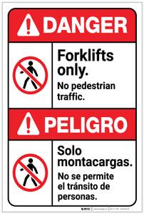 Danger: Forklifts Only No Pedestrian Traffic Bilingual Spanish - Label