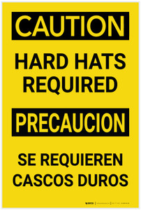 Caution: Hard Hats Required Bilingual Spanish - Label