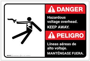 Danger: Hazardous Voltage Overhead Keep Away Bilingual Spanish - Label