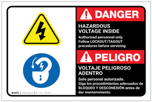 Danger: Hazardous Voltage Inside Follow Lockout Tagout Bilingual Spanish - Label