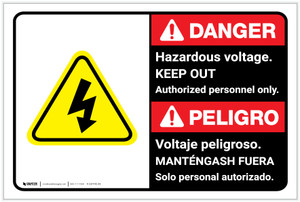 Danger: Hazardous Voltage Keep Out with Graphic Bilingual Spanish - Label