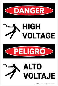 Danger: High Voltage with Graphic Bilingual Spanish - Label