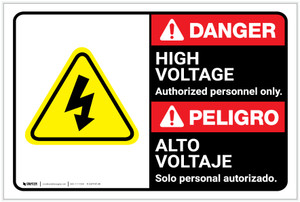 Danger: High Voltage Authorized Only with Graphic Bilingual Spanish - Label