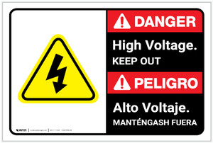 Danger: High Voltage Keep Out with Graphic Bilingual Spanish - Label
