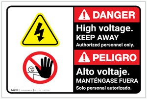 Danger: High Voltage Keep Away Authorized Only Bilingual Spanish - Label