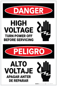 Danger: High Voltage Turn Power Off Before Servicing  Bilingual Spanish - Label