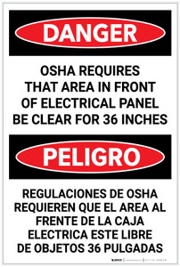 Danger: OSHA Requires Panel Kept Clear Bilingual Spanish - Label