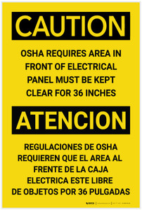 Danger: Area in Front of Panel Must be Kept Clear 36 Inches Bilingual Spanish - Label