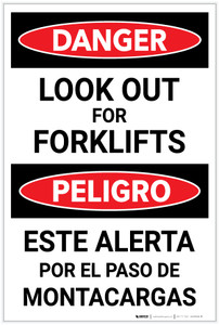 Danger: Look Out for Forklifts Bilingual Spanish - Label