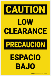 Caution: Low Clearance Bilingual Spanish - Label