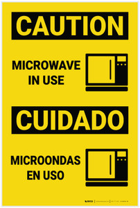 Caution: Microwave in Use with Icon Bilingual Spanish - Label