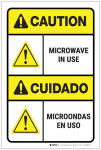 Caution: Microwave in Use ANSI - Label