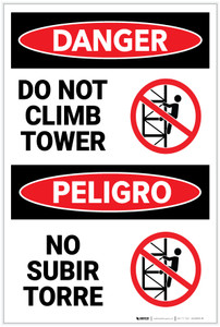 Danger: Do Not Climb Tower with Graphic Bilingual Spanish - Label