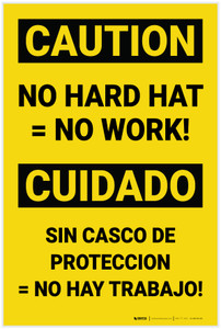 Caution: No Hard Hat No Work Bilingual Spanish - Label