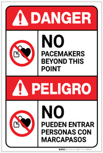 Danger: No Pacemakers Beyond This Point Bilingual Spanish - Label