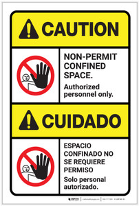 Danger: Non Permit Confined Space ANSI Bilingual Spanish - Label