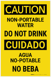 Caution: Non Portable Water Do Not Drink Bilingual Spanish - Label