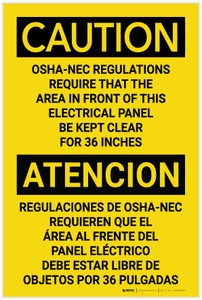 Caution: OSHA NEC Require Panel Be Kept Clear Bilingual Spanish - Label