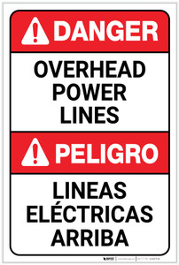 Danger: Overhead Power Lines Bilingual Spanish ANSI - Label