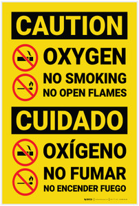 Caution: Oxygen No Smoking No Flames Bilingual Spanish - Label
