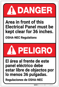 Danger: Area in Front of Panel Must be Kept Clear Bilingual Spanish - Label