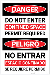 Danger: Do Not Enter Confined Space Permit Required Bilingual Spanish - Label