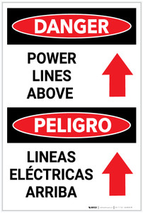 Danger: Power Lines Above Arrow Up Bilingual Spanish - Label