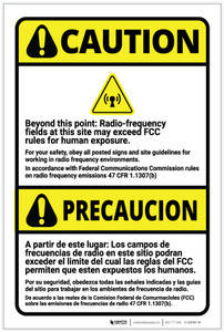 Caution: Radio Frequency Fields May Exceed FCC Rules Bilingual Spanish - Label