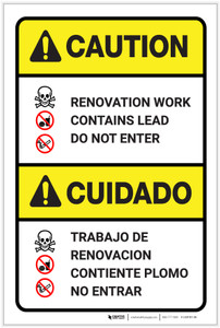 Caution: Renovation Work Contains Lead Do Not Enter Bilingual Spanish - Label