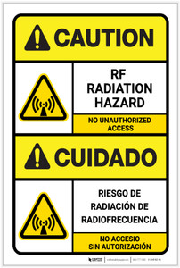 Caution: RF Radiation Hazard ANSI Bilingual Spanish - Label