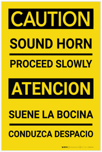 Caution: Sound Horn Proceed Slowly Bilingual Spanish - Label