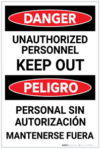 Danger: Unauthorized Personnel Keep Out Bilingual Spanish - Label