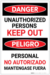 Danger: Unauthorized Persons Keep Out with Red Text Bilingual Spanish - Label