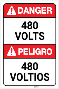 Danger: 480 Volts Bilingual ANSI - Label