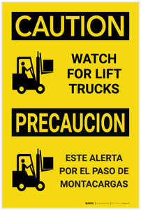 Caution: Watch for Lift Trucks Bilingual Spanish - Label