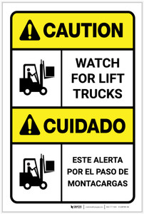 Caution: Watch for Lift Trucks ANSI Bilingual Spanish - Label