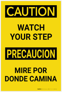 Caution: Watch Your Step Bilingual Spanish - Label