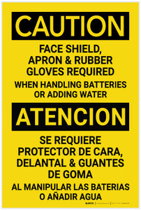 Caution: PPE Required When Handling Batteries Bilingual Spanish - Label