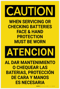 Caution: When Servicing Batteries PPE Must be Worn Bilingual Spanish - Label