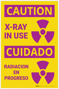 Caution: Xray in Use with Graphic Bilingual Spanish - Label