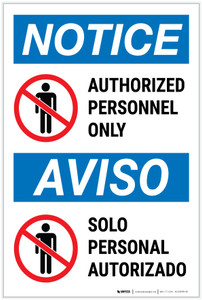 Notice: Admittance Authorized Personnel Bilingual Spanish - Label