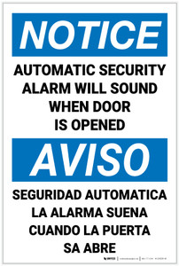 Notice: Automatic Security Alarm Will Sound Bilingual Spanish - Label