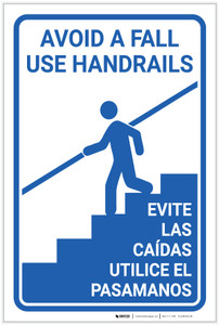 Avoid Fall Handrails Bilingual Spanish - Label