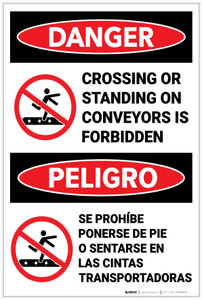 Danger: Crossing or Standing On Conveyors Is Forbidden With Icons Bilingual Spanish - Label