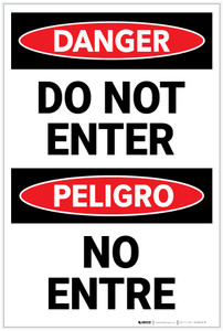 Danger: Do Not Enter Bilingual Spanish - Label