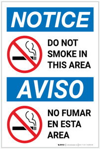 Notice: Do Not Smoke In This Area Prohibited Bilingual Spanish - Label