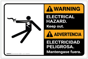 Warning: Electrical Hazard Keep Out Bilingual Spanish ANSI - Label