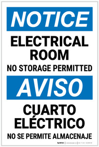 Notice: Electrical Room No Storage Bilingual Spanish - Label