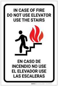Elevator Fire Use Stairs Bilingual Spanish - Label