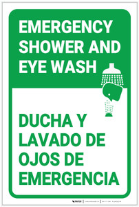 Emergency Shower Eye Wash Portrait Bilingual Spanish - Label